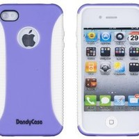 Body Armor Case for Apple iPhone 4, 4S (AT&T, Verizon, Sprint) - Lavender/White - Includes 24/7 Cases Microfiber Cleaning Cloth [Retail Packaging by DandyCase]