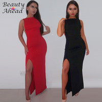 New arrival 2016 summer party dresses backless side split  off shoulder sexy solid Celebrity Style dresses for womens