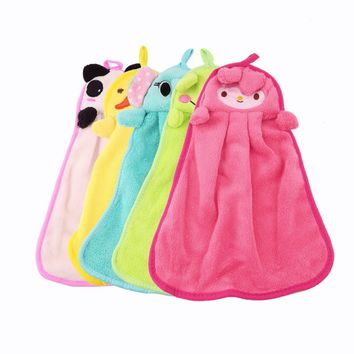 New Cute Nursery Hand Towel quite Soft Plush Fabric Cartoon Animal Hanging Wipe Bathing Towel Worldwide Sale