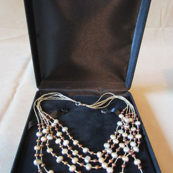 Vintage 90's Honora Genuine Baroque Pearl 6 Strand Necklace, Colored Pearls, Multi-Strand Necklace, Freshwater Pearls, Ladies Gift, Bold