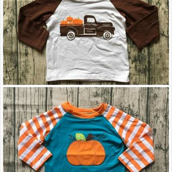 2 color Thanksgiving Fall/winter baby boys children clothes boutique cotton top t-shirts raglans trucker pumpkin farm stripe new