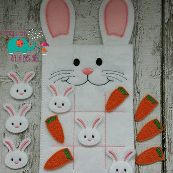 Bunny Tic Tac Toe game embroidered, board game, activity, travel game. easter, bunny, rabbit, quiet game, busy bag, felt board, play set
