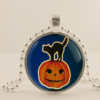 "Black cat with pumpkin, Halloween, 1"" glass and metal Pendant necklace Jewelry."