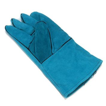 NEW Wearable High Temperature Welding Blue Cowhide Long Leather Welding Gloves Workplace Safety Hand Protection