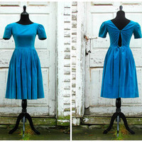 Hollywood Starlet/ Beautiful 1950s Dress/ 50s Dress/ Velvet Cocktail Evening Formal Party Dress