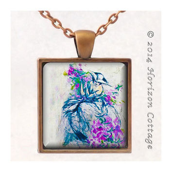 Louis Icart's Lavender Lady - Old Masters' Classic Artwork - Key Ring or Pendant - Your Choice of Finish