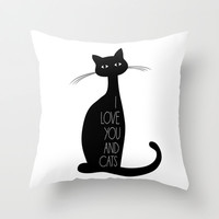 I love you and cats Throw Pillow by BlursbyaiShop