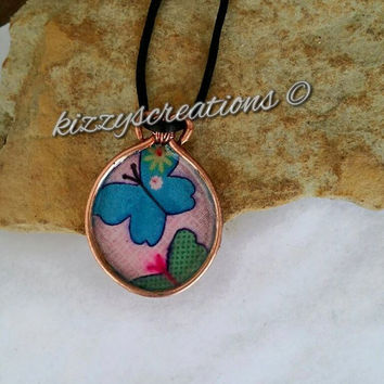 Copper Wire, Butterfly Fabric, Enameled Bezel, Silk Cord, Summer Fashion, Boho Fashion, Metalwork Design, Artisan, Hand Crafted, Necklace