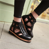 Vintage Retro Gladiator Womens Cut Out Low Heels Lace Casual Rome Goth Sandals Shoes