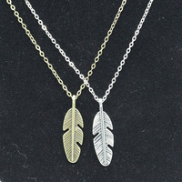 NK738 GT New 2016 Cheap Summer Choker Men Bijoux Vintage Love Feather Pendant Necklace For Women Chain Jewelry One Direction Exo