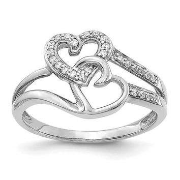 14k White Gold Diamond Hearts Ring