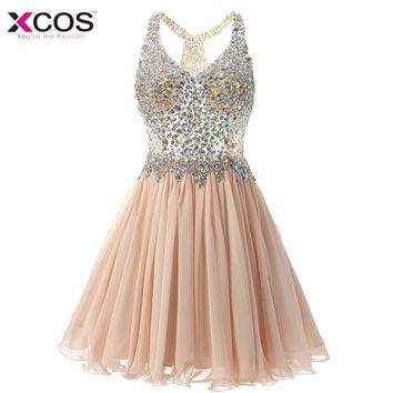 Champagne Cocktail Dress Cute Gilrs 2018 Vestidos Plus Size Sexy Homecoming Dresses Short Robe De Cocktail Gowns