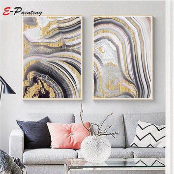 Abstract Canvas Painting Gray Wall Art Gold Print Painting Modern Art Digital Living Room Decorative Picture Home Decor Poster
