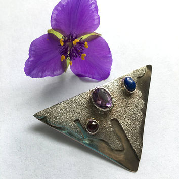Sterling Silver Modernist Brooch With Amethyst Garnet and Lapis Lazuli Cabochons Artisan Handmade Contemporary Style Pin Mid Century Design