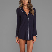 Only Hearts Organic Cotton Piped Night Shirt in Navy