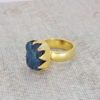Handmade Ring - Raw Apatite Ring - Gold Vermeil Ring - Party Wear Ring - Blue Gemstone Ring - Rough Stone Ring - Solid Brass Ring