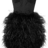 Rare Opulence Feather-embellished satin bustier dress - 0% Off Now at THE OUTNET