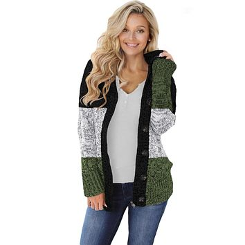 Winter Green Hooded Button Cable Knit Cardigan