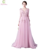New SSYFashion Evening Dress The Bride Banquet Elegant Pink Lace Flower V Collar Long Sleeved Embroidery Prom Dresses Party Gown