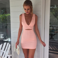 Sexy deep V tight dress  3843DT