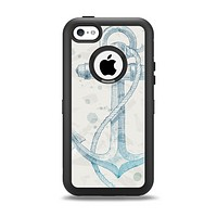 The Vintage White and Blue Anchor Illustration Apple iPhone 5c Otterbox Defender Case Skin Set