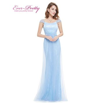 Prom Dresses Fast Shipping Short Sleeve Prom Dresses Ever Pretty HE08849 Elegant Long Prom Dresses Ice Blue Formal Dress Lace