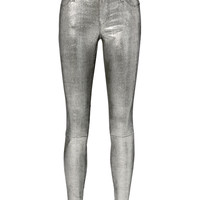 Metallic Leather Jeans