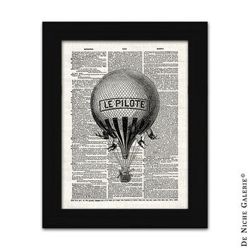 Vintage Hot Air Balloon Collage, Dictionary Page Collage, Instant Download Transfers to Fabric & Paper Prints