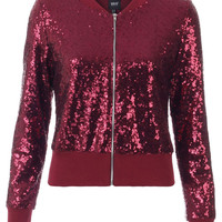 BLINQ SEQUIN BOMBER JACKET WINE