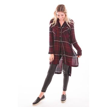 Sass Backwards Plaid Tunic