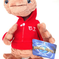 """universal studios 9"""" E.T. extra terrestrial red sweatshirt plush toy new with tags"""