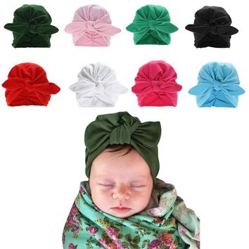Winter Baby Hat Infant Warm Soft Bowknot Hat Rabbit Ears Elastic Lovely Girls Beanies Cap for 0-3Y Newborn Knitted Cap Skullies