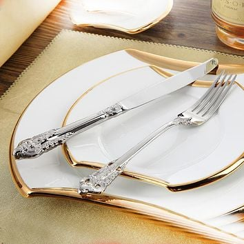 Stainless Steel Cutlery Set Luxury Dinner Set 24 Pcs Restaurant & Shop Vintage Dinnerware on Wanelo
