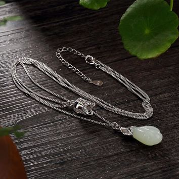 925 Sterling Silver Multi Layers Orchid Flowers Jade Pendants Necklace