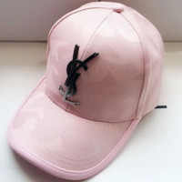 YSL Yves Saint Laurent summer sun visor outdoor travel cap F0642-1 pink