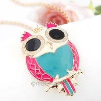 New Retro Fashion Vintage Rhinestone Crystal Big OWL Pendant Long Chain Necklace = 1946858692