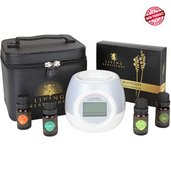 Living BeAtitudes Aromatherapy Essential Oils Gift Set with Ultrasonic Mist O'Clock Humidifier