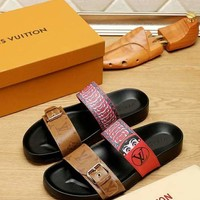 LV Louis Vuitton Men Sandals Slipper Flip Flops Shoes