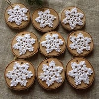 Set of 10 Hand Chrocheted Snowflake Ornaments in Birch-Wood Slice Christmas Ornaments-Wood Slice Snowflake Decor-Rustic Christmas Decor
