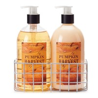 Simple Pleasures Pumpkin Harvest Hand Soap & Hand Lotion Caddy Gift Set (Olive/Pumpkin)