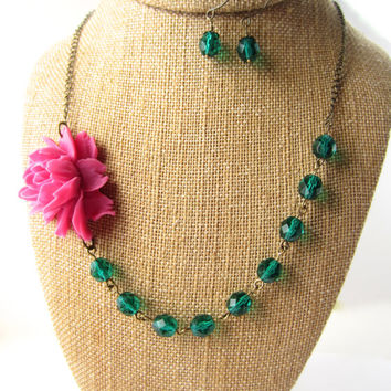 Flower Necklace Fuchsia Necklace Statement Necklace Floral Jewelry Emerald Necklace Pink and Green Jewelry Bridesmaid Necklace Set