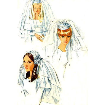 60s Bridal veils and headpieces vintage sewing pattern Simplicity 6846 Brides wedding veils