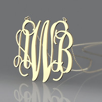 Monogram AWB style plated in gold necklace--1 inch golden initial name pendant necklace