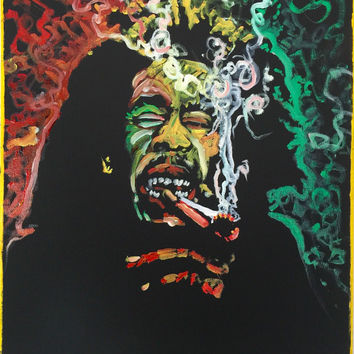 Bob Marley Original Oil Painting on Canvas 16x20 Pop Art Painting Music Art Smoke Art Red Yellow Green Art Canvas Wall Art