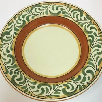Pier 1 Imports Umbrina Italy Hand Painted Earthenware 2 Pc. Rim Soup Bowl