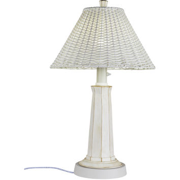 Nantucket Outdoor Table Lamp with White Wicker Shade