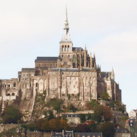 France photography Le Mont Saint-Michel, European Travel photo, Rustic French home decor, Neutral stone wall art, landscape photography art