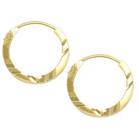 Gold Plated 14k Earrings Small Thin HOOP Huggie Girl Teens Lady Print 14mm