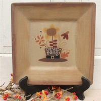 Primitive Thanksgiving Wood Plate for seasonal rustic decor