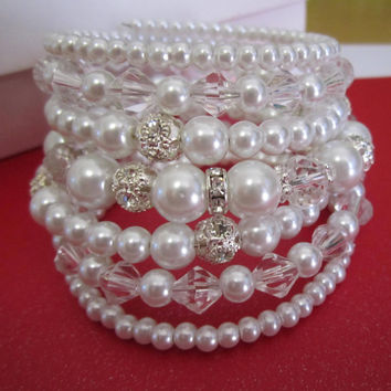 Ivory Pearl Bridal Bracelet Wedding Bracelet Statement Wedding Cuff Bracelet Bridal Cuff Bracelet Pearl and Rhinestone Bracelet Multi Strand